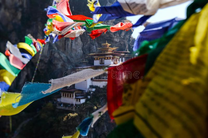 Landscape of Paro Taktsang Tiger Nest in Upper Paro Valley, Bh royalty free stock images