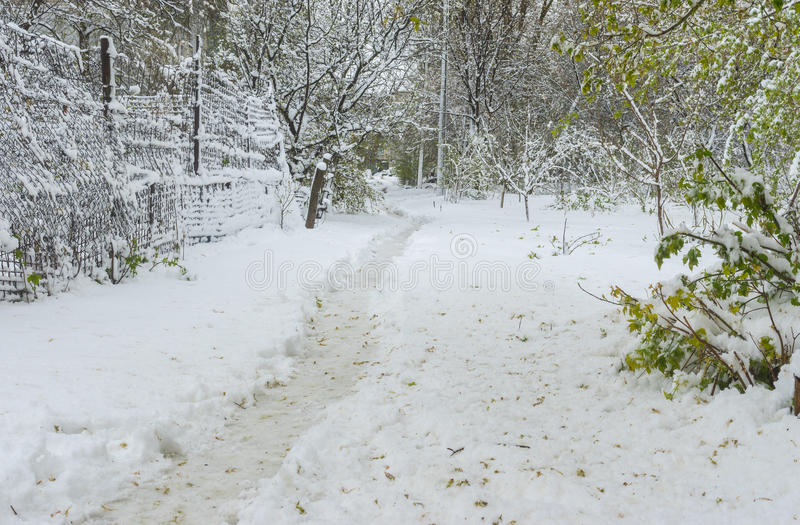 Landscape with path in snow after unexpected April snow storm in Dnepr city, Ukraine stock image