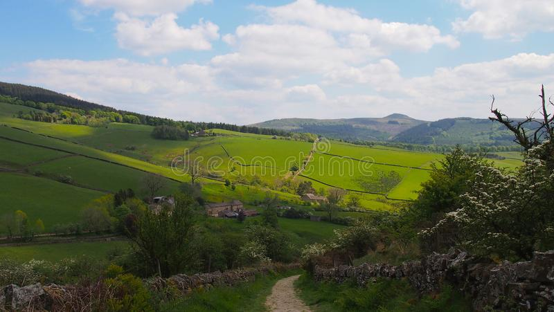 Landscape in the Peak District in Northern England. Rolling fields at Tegg`s Nose Country Park near Macclesfield, Cheshire, Great Britain stock images