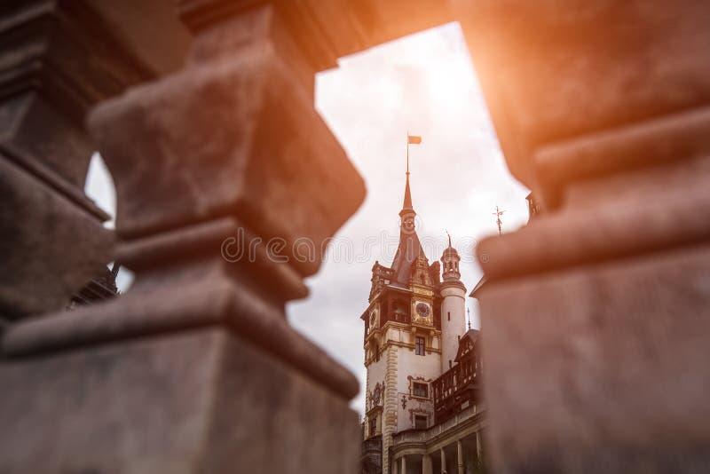 Landscape of Peles Castle Transylvania in summer season. Romania, Sinaia royalty free stock photography