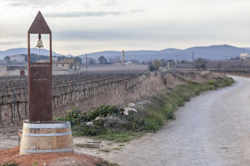 Landscape in Penedes wine region, vineyards and bell in countryside, Vilafranca del Penedes, Catalonia, Spain. stock photography