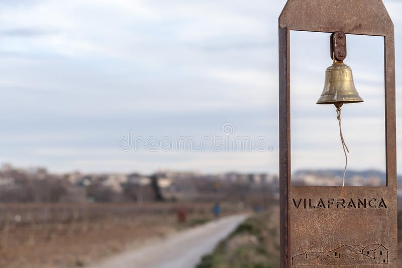 Landscape in Penedes wine region, vineyards and bell in countryside, Vilafranca del Penedes, Catalonia, Spain. stock photo
