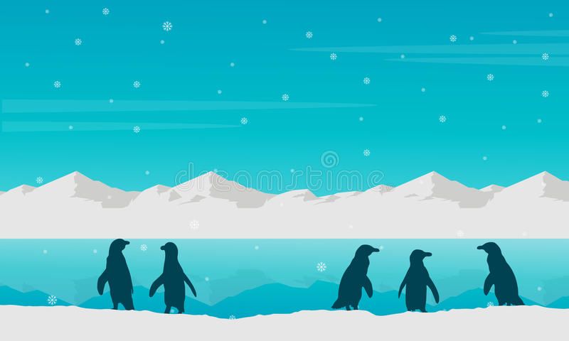 landscape penguin on beach silhouette stock vector illustration of