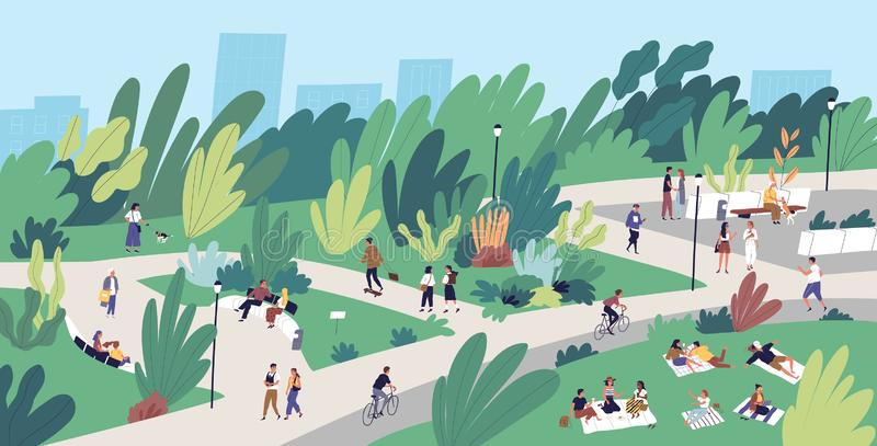 Landscape with people walking, playing, riding bicycle at city park. Urban recreation area with men and women performing. Leisure activities outdoors. Flat stock illustration