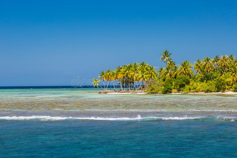 Landscape photo of beautiful paradise Maldives tropical beach on island. Summer and travel vacation concept royalty free stock images