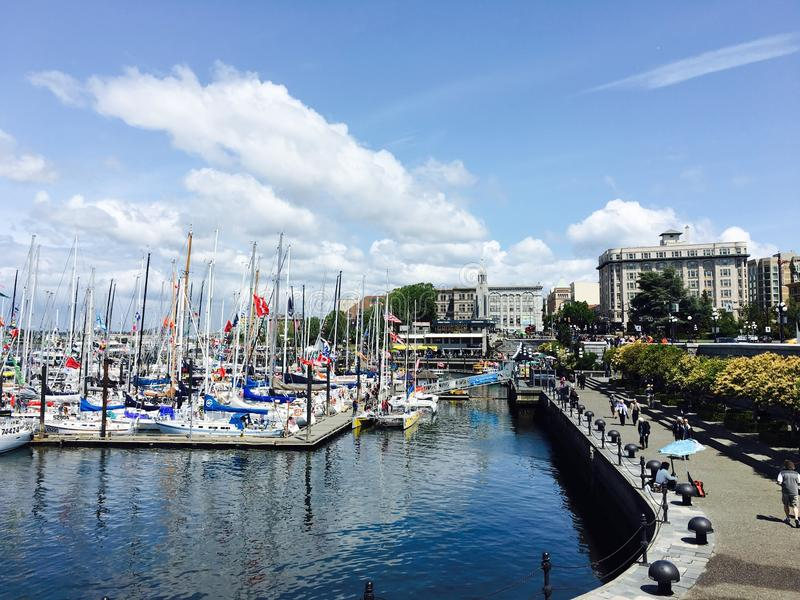 Landscape Photo of Boats on the Port royalty free stock photos