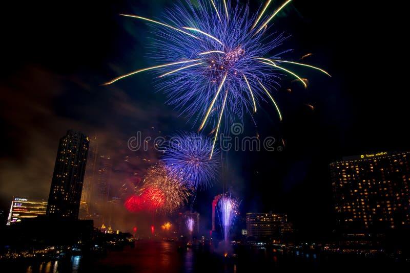 Landscape photo of firework for New Year 2020 celebration on Chao Phraya River at IconSiam or Icon Siam Department Store, Bangkok,. Bangkok, Thailand - 1 January stock photo