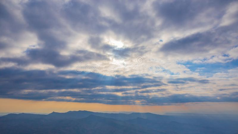 Landscape photo of panorama or panoramic view of mountain hill forest. royalty free stock image
