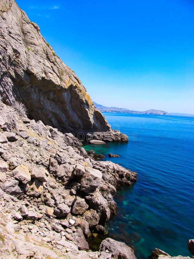 Landscape photo of a cliff on the Black Sea in Crimea stock images
