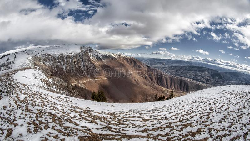 Landscape Photo of Snowy Mountain Under Cloudy Sky royalty free stock photography