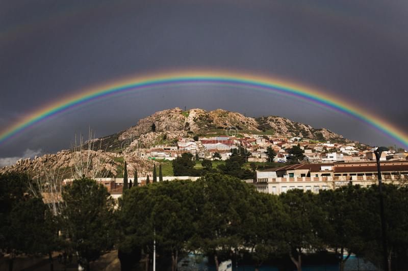 Landscape Photo of the View of City With Rainbow Above stock image