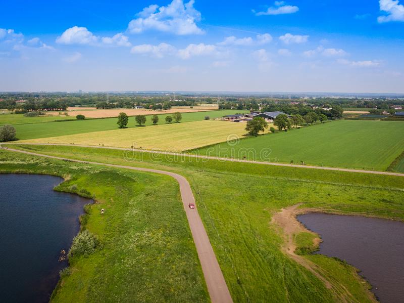 Drone shot of a lake in the netherlands royalty free stock image
