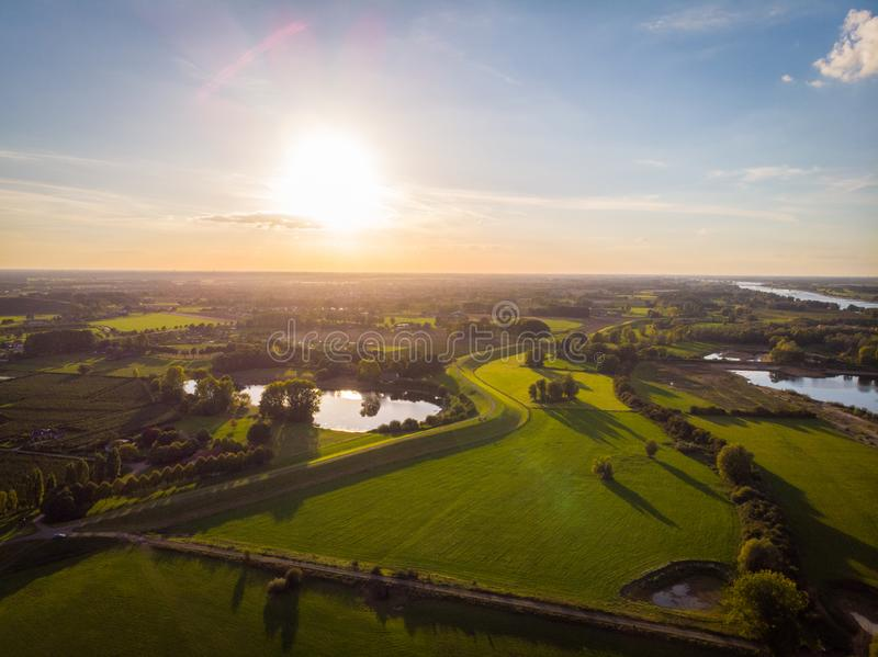 Drone shot in the netherlands. stock image