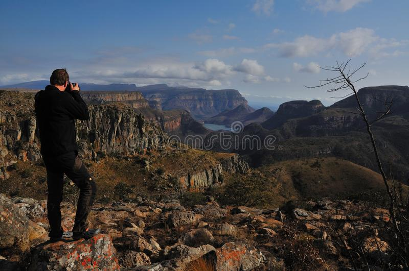 Landscape Photographer. This photographer takes a photo from the Blyde River Canyon on the Panorama Route in South Africa royalty free stock images