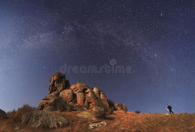 Landscape photographer to shoot the mountains and amazing starry royalty free stock photos