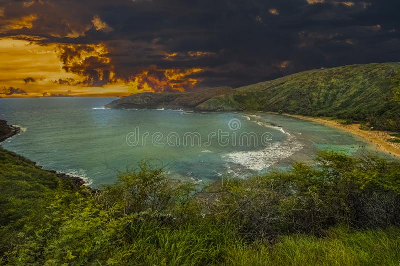 Landscape Photography of Body of Water Under Gray and Orange Sky royalty free stock image