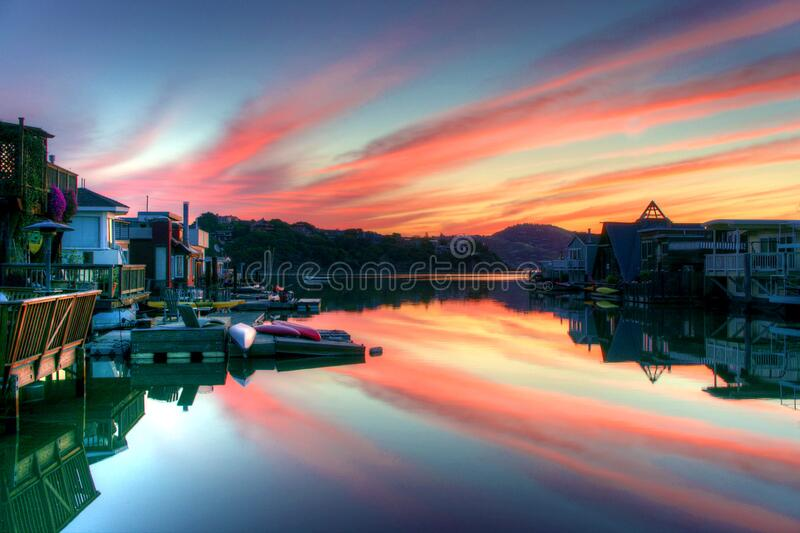 Landscape Photography of Canal and Houses royalty free stock photography