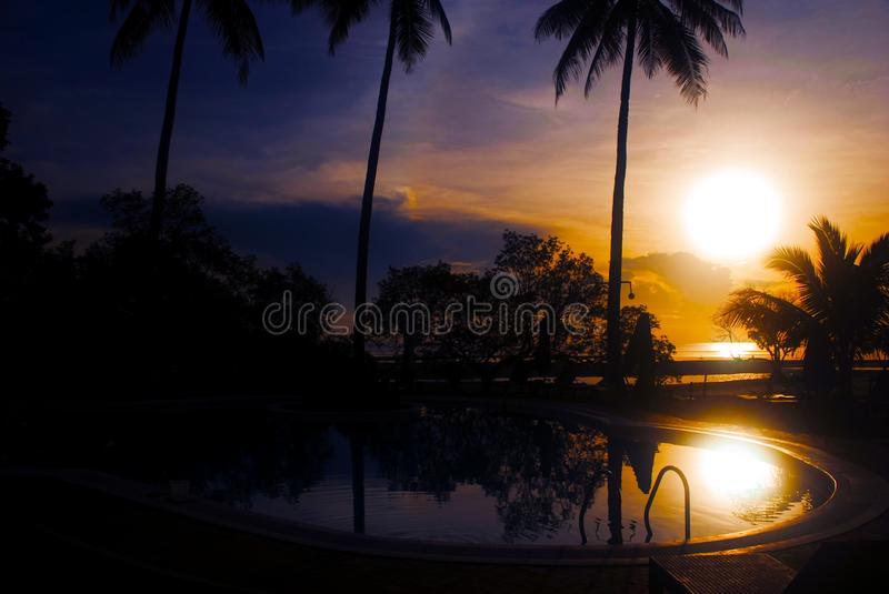 Landscape Photography of Swimming Pool during Golden Hour royalty free stock images