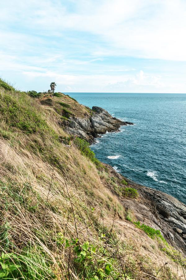 Landscape  Phrom Thep Cape, Landmark in phuket Thailand, This cape is a popular sunset viewing point royalty free stock photography