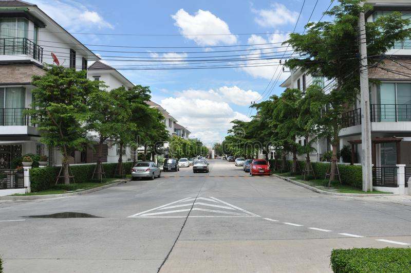 Landscape picture of cement road in real estate village royalty free stock photos