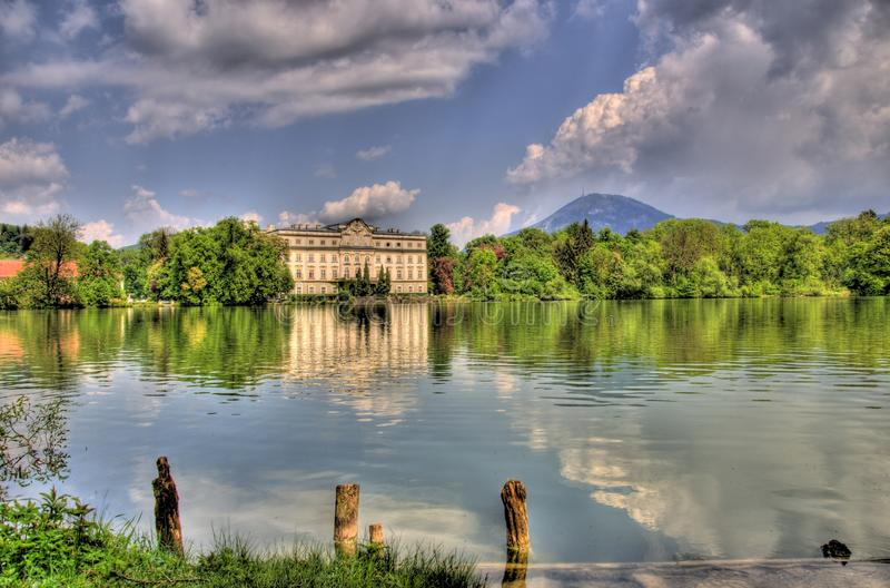 Landscape picture of a lake in salzburg, austria royalty free stock photos