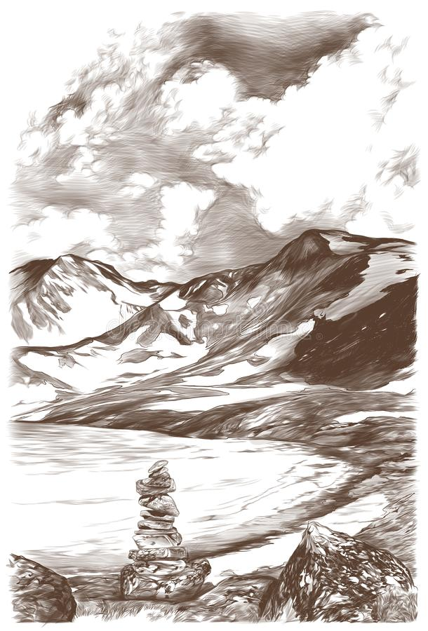 Landscape picture of snow mountains and ice lake on sky background with clouds. In the foreground stones drawn on each other, sketch vector graphics monochrome stock illustration