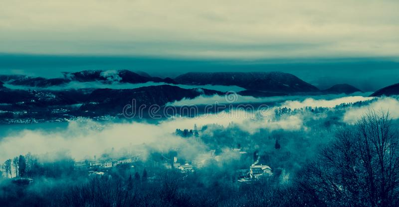 Blue cold mountain stock images