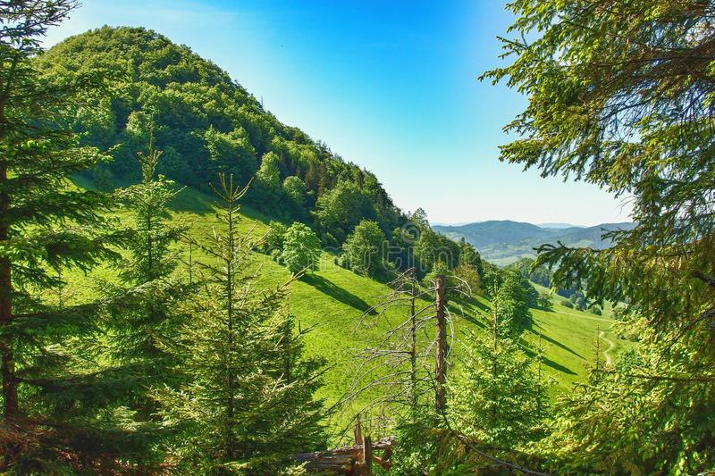 Landscape of Pieniny range in southern Poland. View on Pieniny and Gorce mountain range in beskids in Poland. Pieniny Mountains in the south of Poland. Located stock image