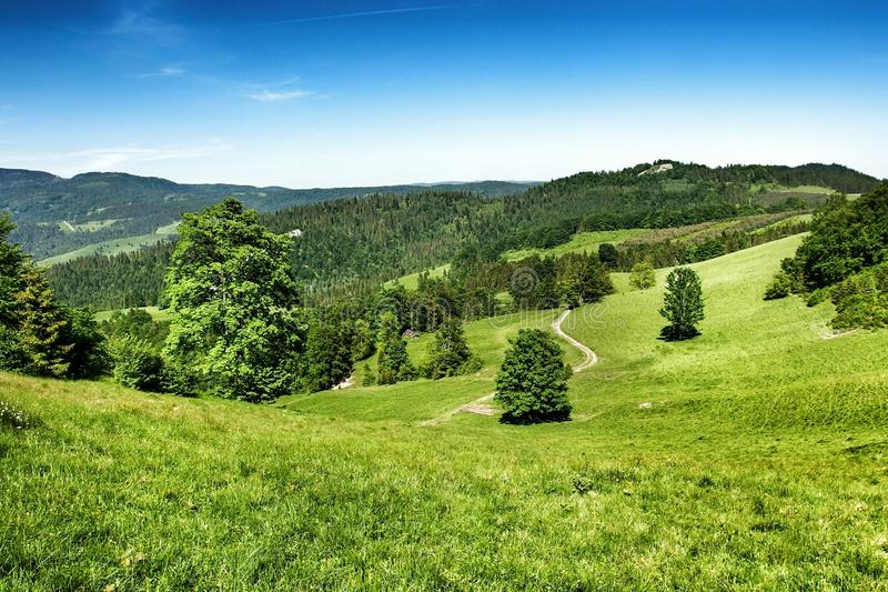 Landscape of Pieniny range in southern Poland. View on Pieniny and Gorce mountain range in beskids in Poland. Pieniny Mountains in the south of Poland. Located royalty free stock photography