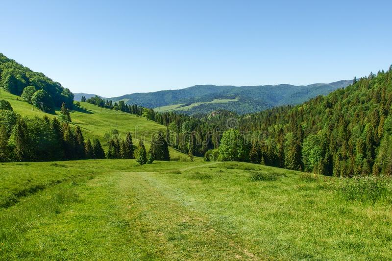 Landscape of Pieniny range in southern Poland. View on Pieniny and Gorce mountain range in beskids in Poland. Pieniny Mountains in the south of Poland. Located stock photography