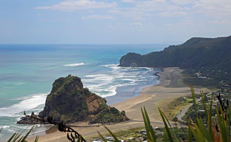View at Piha Beach. Landscape with Piha Beach, New Zealand stock photo