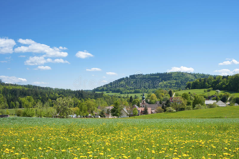 Landscape with the pilgrimage church Maria Hilf in Moosbronn. Black Forest, Baden-Wurttemberg, Germany, Europe stock photography
