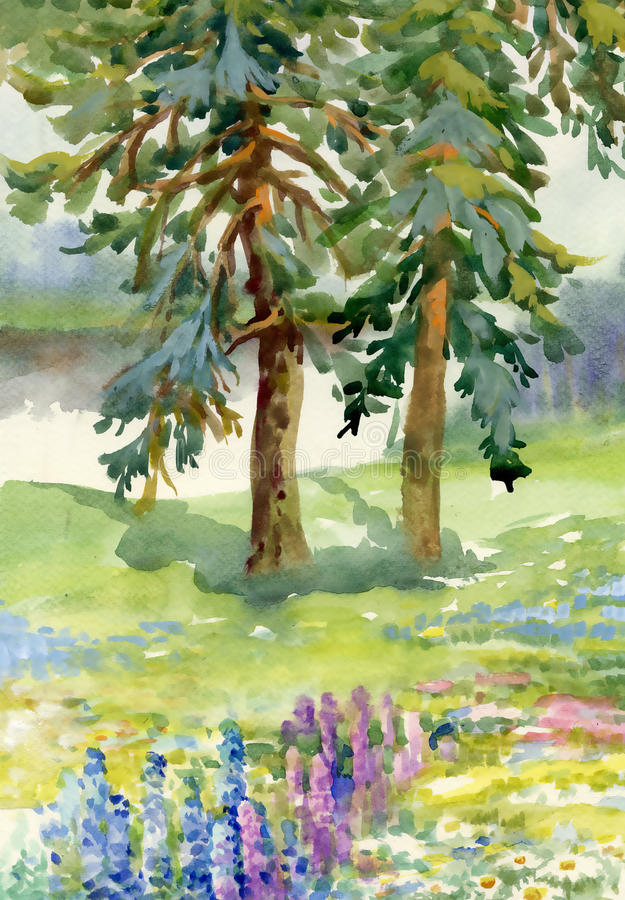 Landscape with pine trees. Watercolor vector illustration