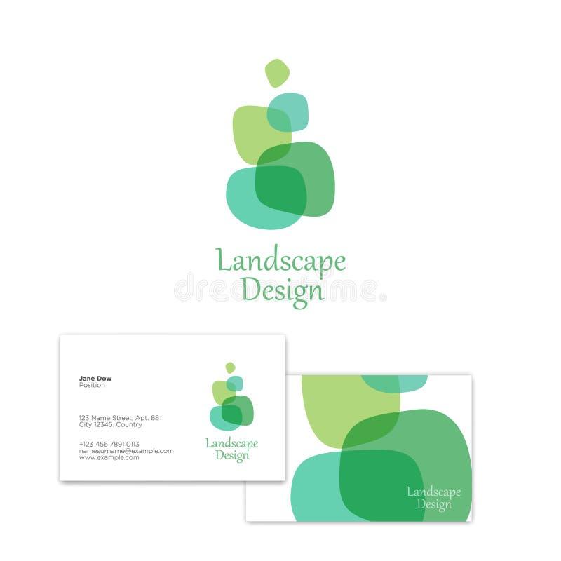 Landscape and Plant logo. Eco Flat Emblem. Abstract figure of green elements. stock illustration