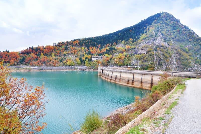 Landscape of lake Plastiras Thessaly Greece stock photos
