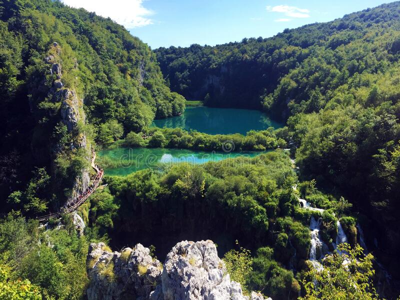 Landscape of Plitvice Lakes National Park or nacionalni park Plitvicka jezera, UNESCO natural world heritage - Plitvica, Croatia stock photography