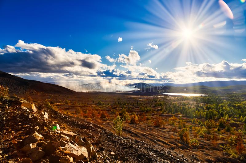 Landscape pollution of the environment emission of industrial plant, Karabash city Russia. Landscape pollution of environment emission of industrial plant stock images