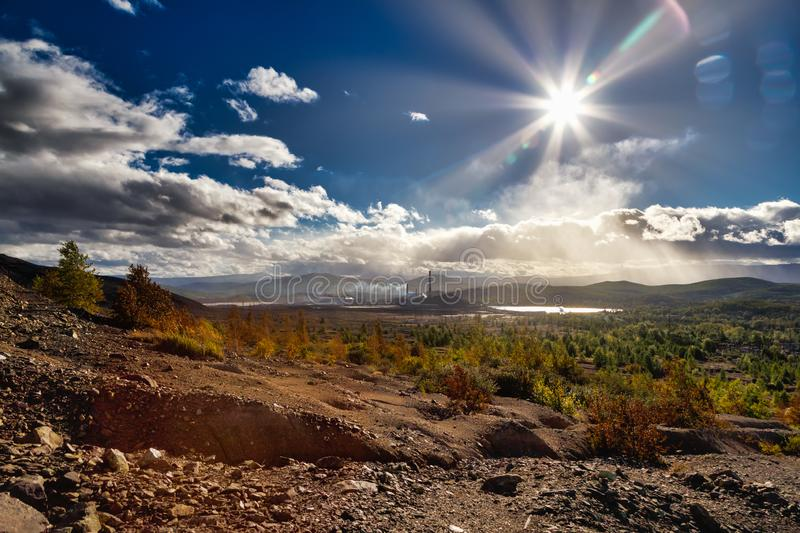 Landscape pollution of the environment emission of industrial plant, Karabash city Russia. Landscape pollution of environment emission of industrial plant stock image