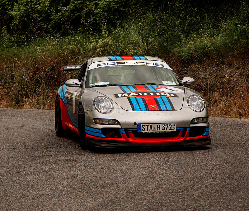 LANDSCAPE WITH PORSCHE with martini color stock photos