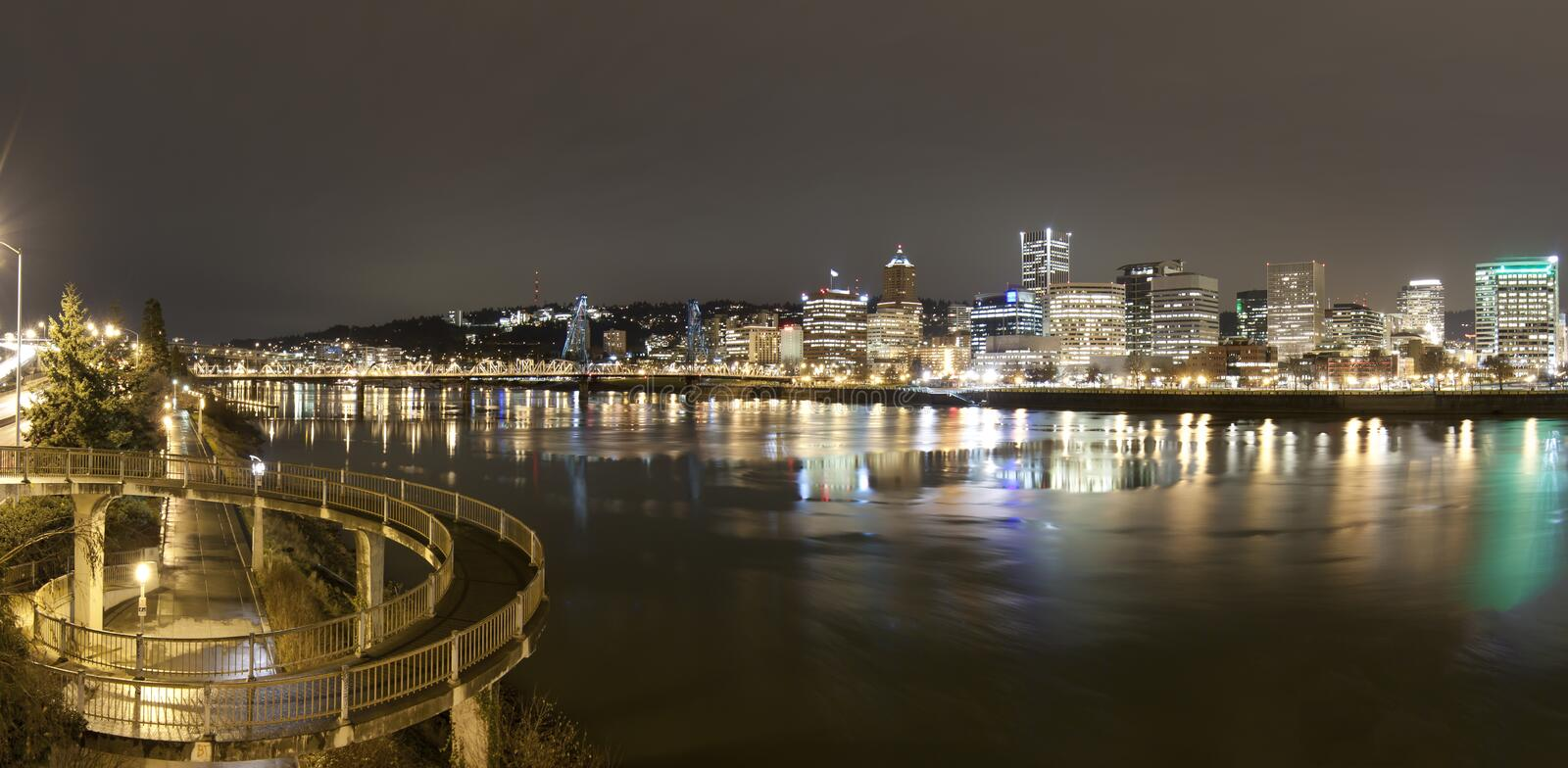 Landscape of Portland, Oregon, USA. View of Portland, Oregon overlooking the willamette river stock photography