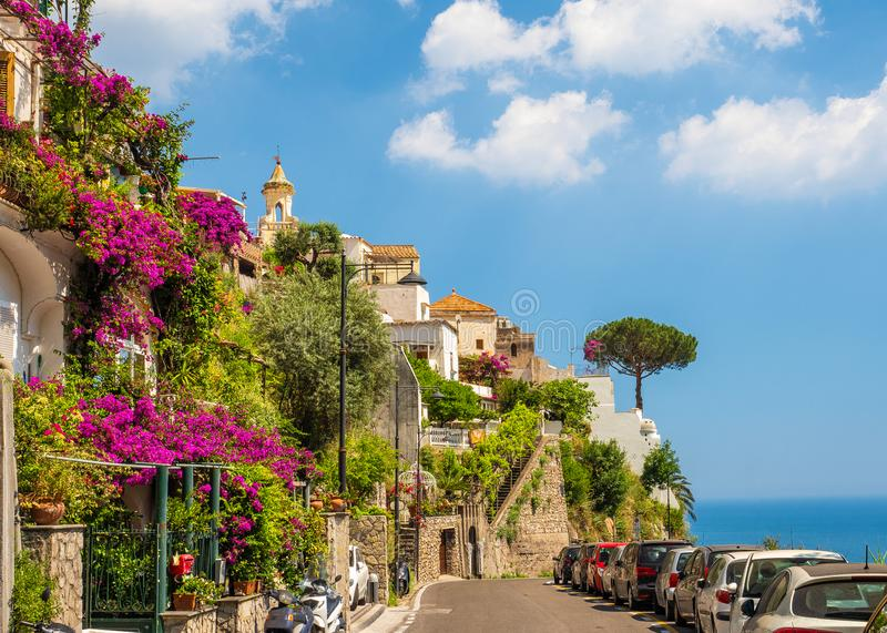 Landscape with Positano town royalty free stock photo