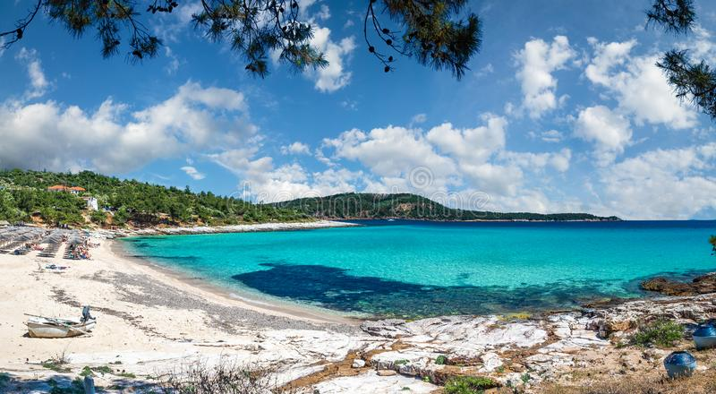Landscape with beach at Thassos. Landscape with Psili Ammos beach at Thassos islands,  Greece stock photography