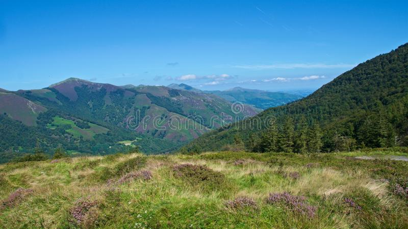 Landscape of the Pyrenees on the Spanish side in Roncesvalles, Spain royalty free stock photography