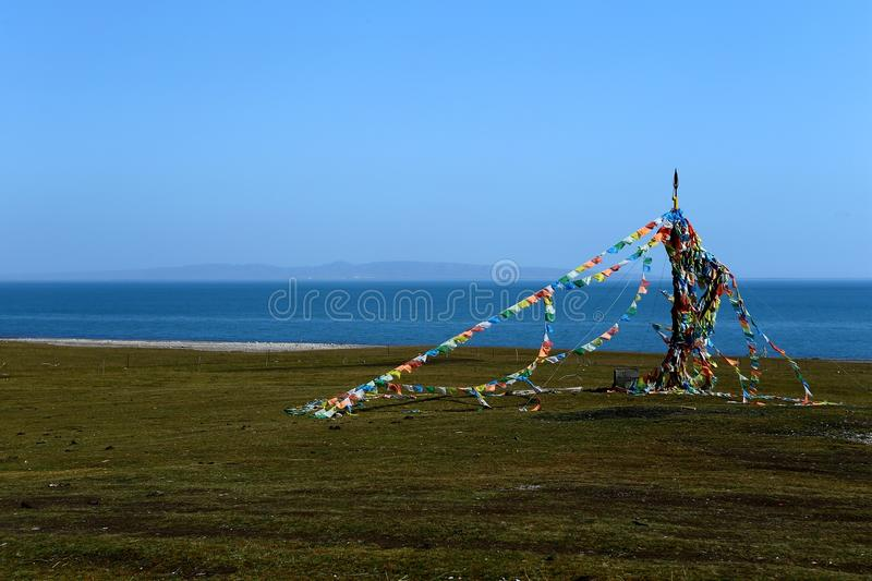 Landscape of Qinghai Lake. Qinghai Lake is the largest lake in the People`s Republic of China. Located in Qinghai province on an endorheic basin, Qinghai Lake is stock photo