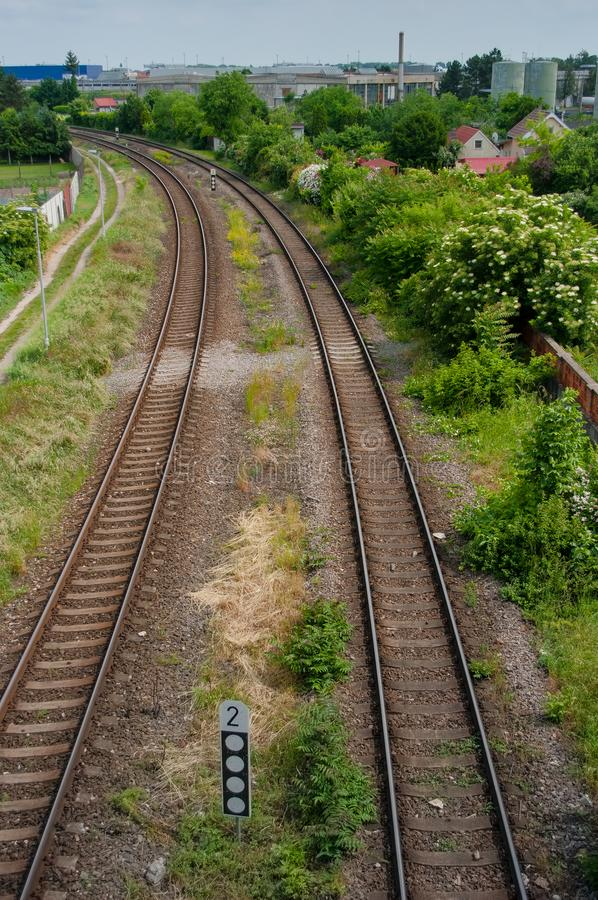 Landscape with rails. A view of the landscape after which the dorms are married stock photos