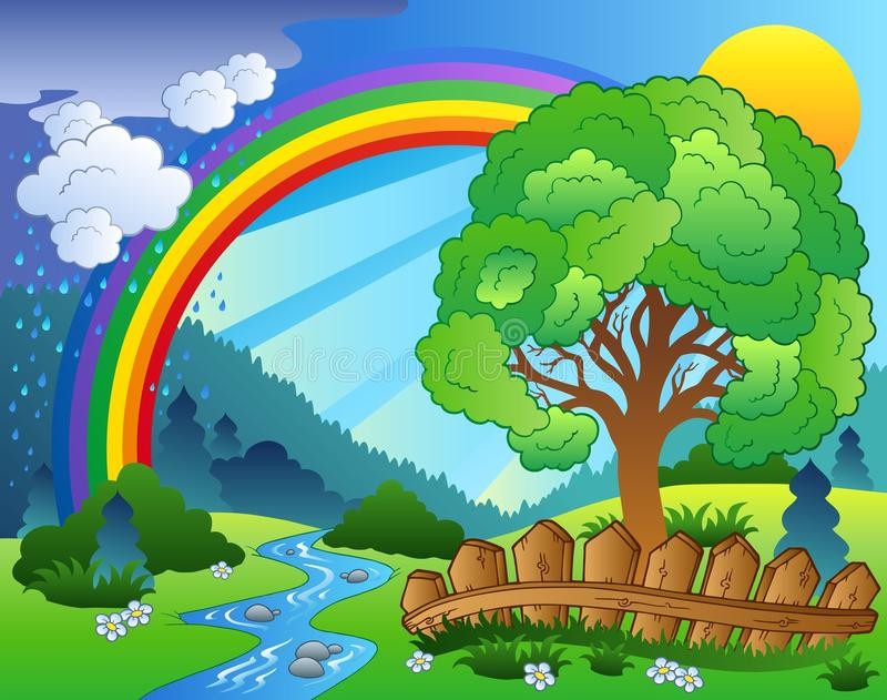Landscape with rainbow and tree royalty free illustration