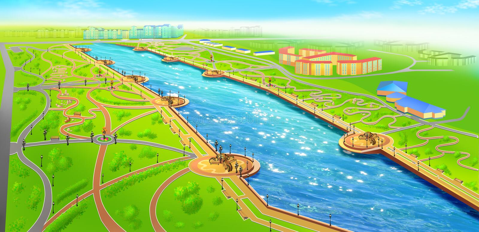 Download Landscape Of Recreational Area Near The River Stock Illustration - Image: 21128783