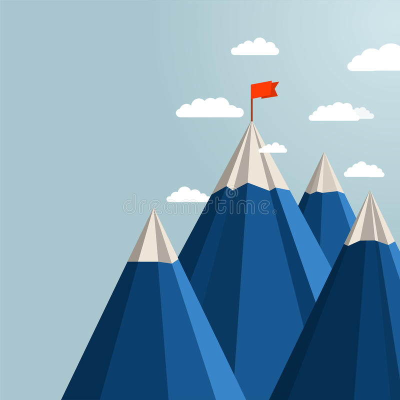 Landscape with red flag on top of Mountain. royalty free illustration