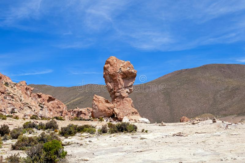 Bolivia: red rock formations of the Italia Perdida, or lost Italy, in Eduardo Avaroa Andean Fauna National Reserve. Landscape with red Rock formations called stock images
