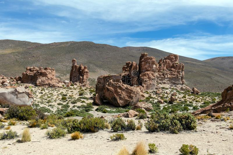 Bolivia: red rock formations of the Italia Perdida, or lost Italy, in Eduardo Avaroa Andean Fauna National Reserve. Landscape with red Rock formations called royalty free stock photography